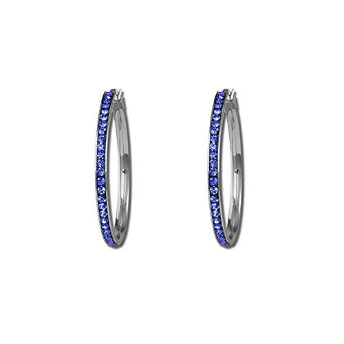 (Silver Plated Women Hoop Earrings Bridal Wedding Black White Pink Blue Crystal Rhinestone Earrings (Blue 55MM))
