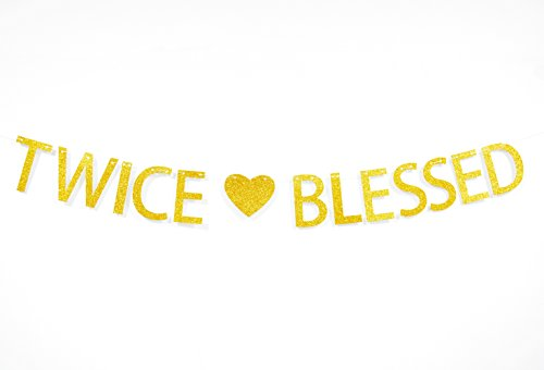 Twice Blessed Gold Glitter Banner For Twins Baby