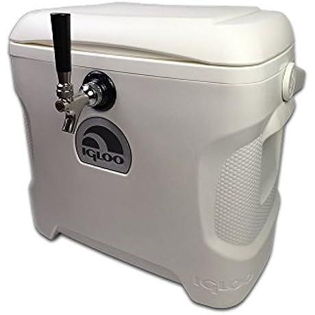 Coldbreak Brewing Equipment CBJB30QT1T Jockey Box 1 Tap Marine Pass Through 30 Quart Cooler 50 Coil 0 25 ID 0 3125 OD Stainless Steel White
