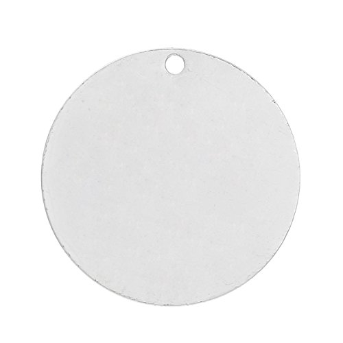 10 Silver Plated Copper Round Circle Stamping Blank Tags for Metal Stamping 30 mm - Metal Round Circles