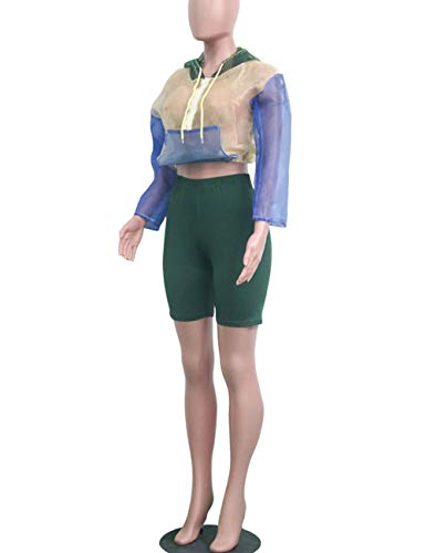 d44735a62d36 Women Color Block Sheer See Through Long Sleeve Crop Top Hoodie and Bodycon  Shorts Set 2