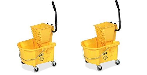 Genuine Joe GJO60466 Splash Guard Mop Bucket/Wringer, 6.50 gallon Capacity, Yellow (.2 PACK) by Genuine Joe