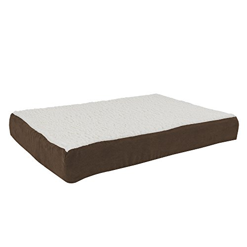 PETMAKER Orthopedic Sherpa Top Pet Bed with Memory Foam and Removable Cover 30x20.5x4 Brown (Boots & Barkley Pet Bed Cover Medium)