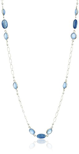Sterling Silver Dyed Blue Calcite Bezel and Blue Kyanite Oval  Endless Chain Necklace, 32