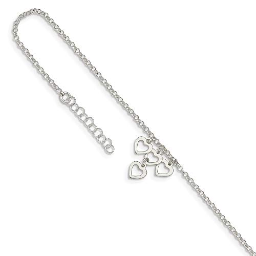 Sterling Silver Dangle Heart Anklet - 925 Sterling Silver Heart Dangles 1 Inch Adjustable Chain Plus Size Extender Anklet Ankle Beach Bracelet Fine Jewelry Gifts For Women For Her