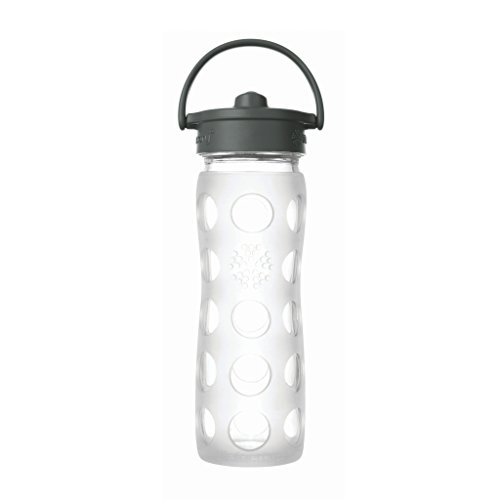 Lifefactory 16-Ounce BPA-Free Glass Water Bottle with Straw Cap and Protective Silicone Sleeve, Transparent ()