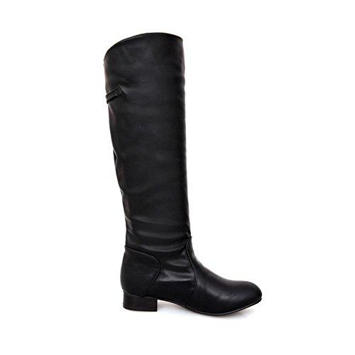AllhqFashion Mujeres Puntera Redonda Sólido Caña Alta Mini Tacón Botas con Ornamento Metal Negro