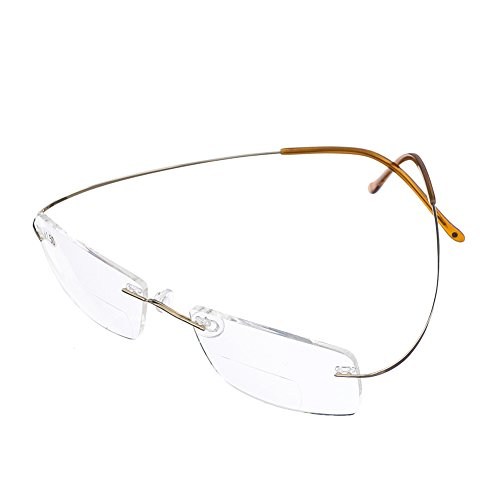 Bi Tao Super Light 100% Titanium Bifocal Reading Glasses Men Women Fashion Rimless Reading Eyeglasses + Eyewear - Glasses Titanium