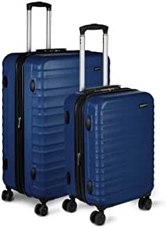 AmazonBasics 2 Piece Hardside Spinner Travel Luggage Suitcase Set - Navy