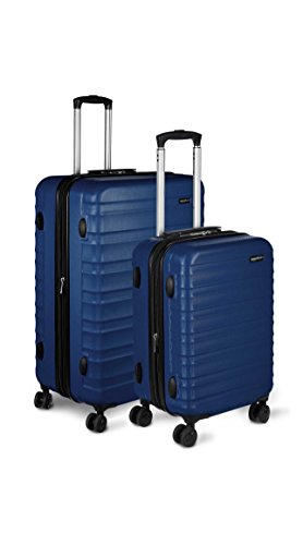 AmazonBasics 2 Piece Hardside Spinner Travel Luggage Suitcase Set - Navy (Best 2 Piece Carry On Luggage Sets)