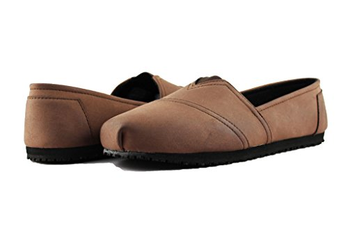 Townforst Womens Jess PU Slip Resistant Slip On Shoes Brown -
