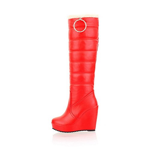 with AmoonyFashion Round US Closed Heels Wedge Solid Soft B High 5 Material Womens and Boots Toe Metalornament M Red vprwEvq