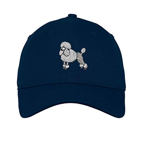 (Speedy Pros LowProfileSoft Hat Poodle White Embroidery Dog Name Cotton Dad Hat Flat Solid Buckle - Navy, Design)