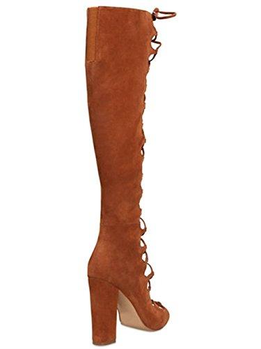 mano mano mano romani BROWN pura cinghie delle stivali Donne Donne Donne Donne dei 35 38 testa pompa marroni pesci qYZHBRn