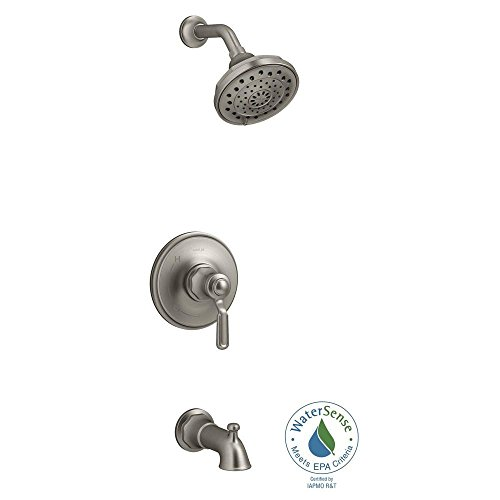 KOHLER Worth 1-Handle 3-Spray Tub and Shower Faucet in Vibrant Brushed Nickel (Valve Included)