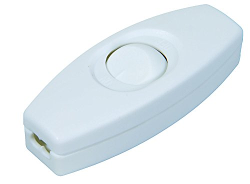 B&P Lamp White In Line Feed Through Rocker Switch - Feed Thru Cord Switches
