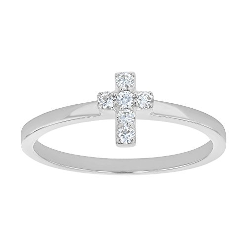 Olivia Paris Diamond Cross Ring in 14k White Gold (0.08 cttw, H-I Color, I1 Clarity) Size 8