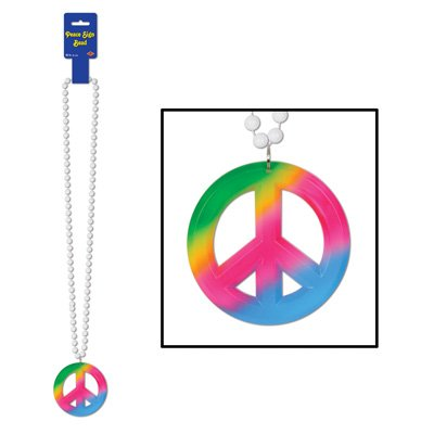 Beads w/Peace Sign Medallion Party Accessory (1 count) (1/Card) ()
