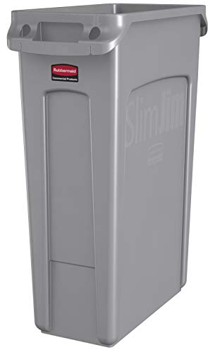 (Rubbermaid Commercial Products Slim Jim Plastic Rectangular Trash/Garbage Can with Venting Channels, 23 Gallon, Gray (FG354060GRAY))
