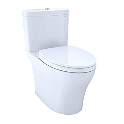 TOTO MS446124CUMG#01 Aquia IV 1G Washlet+ Two-Piece Elongated Dual Flush 1.0 and 0.8 Gpf Toilet with Cefiontect, Cotton White