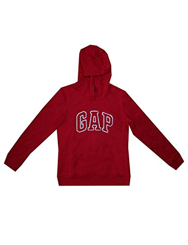 GAP Womens Fleece Arch Logo Pullover Hoodie (L, Red) (Gap Womens Clothes)