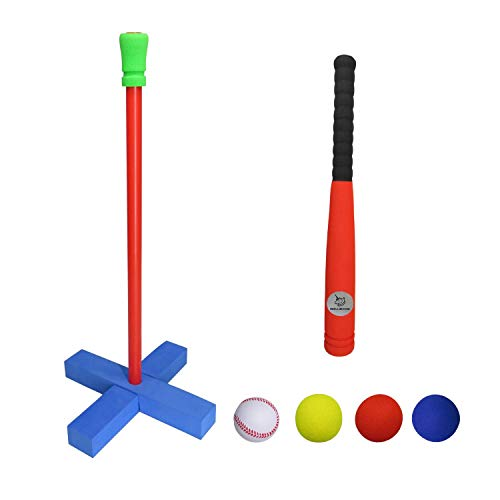 Welloboom (Standard Size) Kids Soft Foam T-Ball/Baseball Set Toy, 4 Different Colored Balls, Carry/Organize Bag Included, For Kids Over 3 Years Old, Red