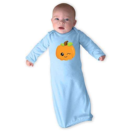 Kawaii Halloween Pumpkin Wink Long Sleeve Envelope Neck Boys-Girls Cotton Newborn Sleeping Gown One Piece - Light Blue, Gown & Hat Set -