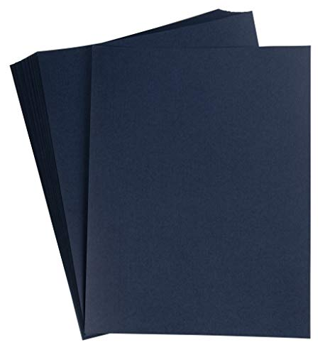 Binding Presentation Cover - 50-Pack Report Cover Paper, Letter Sized Cardstock Paper for Business Documents, School Projects, Un-Punched, 250GSM, Linen Paper, Navy Blue, 8.5 x 11 Inches