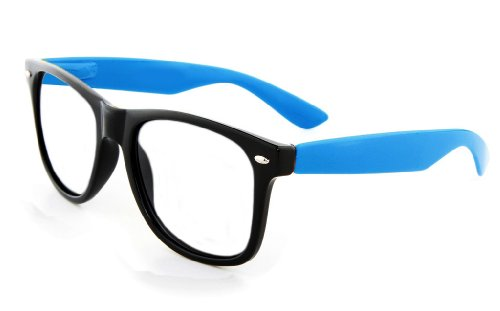 New Glossy Two Tone Black & Blue Wayfarer Nerd Glasses Clear Lens Optical - For Halloween Nerd