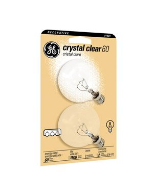(Ge Decorative Globe Bulb 60 W 600 Lumens G16-1/2 Candelabra 3 In. Clear Card / 2)