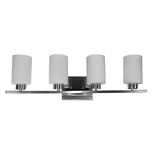 "HomeSelects 7535 Vanity-Track Light, Brushed Nickel with Alabaster Glass Globes, 6""L x 30""W x 8""H"