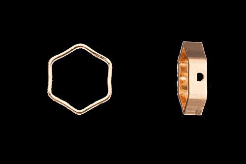 Hexagon Shape Bead Frame 16K Gold-Finished 9x3mm sold per pack of 30 (3pack bundle), SAVE $2