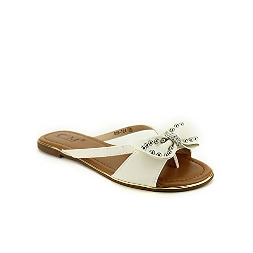 C'm Cendriyon Looks Femme Blanche Blanc Chaussures Clous Tongs Strass ZTZqI