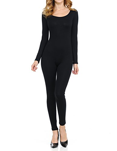 Ladybug Women Catsuit Cotton Lycra Tank Long Sleeve Yoga Bodysuit Jumpsuit Women Catsuit Tank Long Sleeve Yoga one Piece Footed Bodysuit Jumpsuit (X Large, Black7)