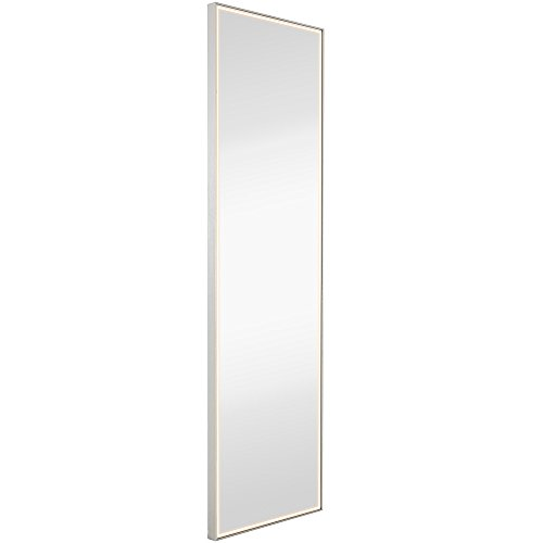 Brushed Metal Mirror with Lights | Lighted Backlit LED Wall Mirror | -