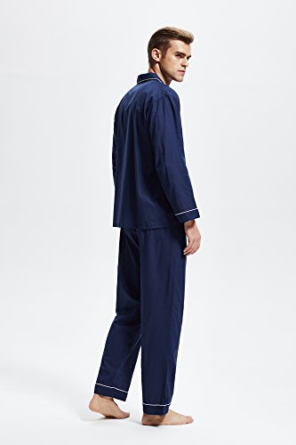 Men's 100% Cotton Pajama Set, Long Sleeve Woven Sleepwear from Tony & Candice (X-Large, Navy Blue with White Piping) by TONY AND CANDICE (Image #3)
