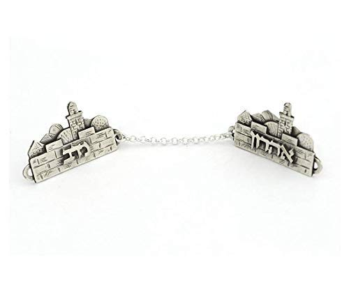 Personalized Sterling silver Tallit clips Hebrew Name Jerusalem ()