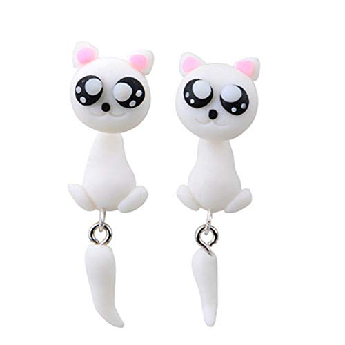 Exquisite Soft Clay Cat Shape Fashion Gift Earrings Jewelry Stud Earrings ()