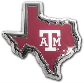 AMG logo in state shape Texas A/&M METAL Auto Emblem