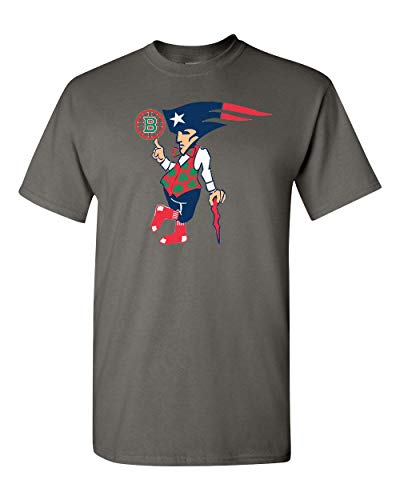Boston New England Sports Teams Adult Unisex T-Shirt - Makes a Great Gift Tee for Patriots Redsox Celtics and Bruins Fans! Charcoal Grey