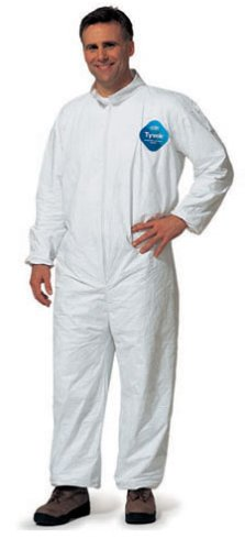 DuPont TY125S Disposable Elastic Wrist & Ankle White Tyvek Coverall Suit 1417, Size XXLarge, Sold by the Each