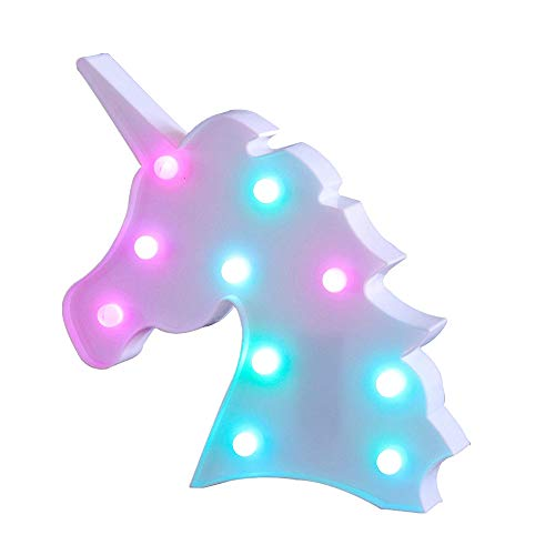 Jozocy Unicorn Night Light, Battery Operated LED Table Lamp Light for Kids'Room Decoration