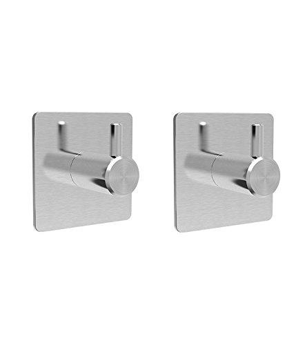KanCai Adhesive Hooks Wall Hooks Hats Functional Coat Hooks, Stainless Steel 2Pcs (Hook Functional)