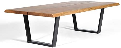 Gingko Home Furnishings George Coffee Table, Live Edge Table, Solid Walnut, Mid-Century Modern Coffee Table, Butterfly Joint Design, Steel Base in Black