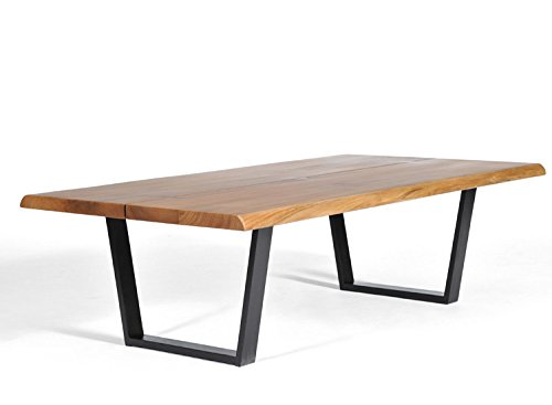 Cheap George Coffee Table, Live Edge Table, Solid Walnut, Mid-century modern coffee table, Butterfly Joint Design, Steel Base in Black