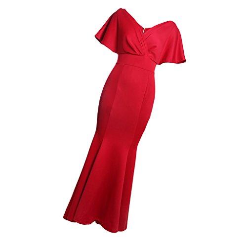 Boho Chica Estilo D s Ocasión de rojo Regalo Especial Vestido Espalda Corta DOLITY Sin Manga Mujer 8x8wAq0P