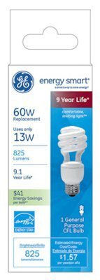 Lamp,Cfl,13w,T3 Spiral,1/Pack by GE