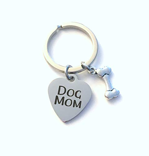 Gift for Dog Mom Keychain, Doggy Mommy Key Chain, Woman Women Keyring, Animal Lover, Breeder Thank you Present, Silver Dog Bone Charm, Mother's Day Present, Pet Parent Breed Puppy Pup