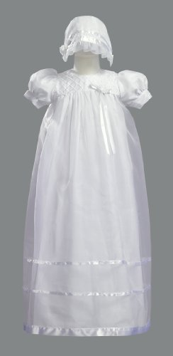 Long White Embroidered Organza Christening Baptism Gown with Bonnet - XS (0-3 Months)