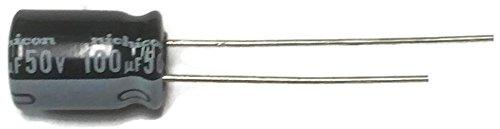 Set of 10, Nichicon 105°C Electrolytic Capacitor 100uF 50V (100 mfd 50V) 20% Radial, 5/16